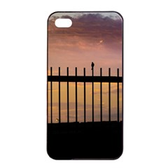Small Bird Over Fence Backlight Sunset Scene Apple Iphone 4/4s Seamless Case (black) by dflcprints