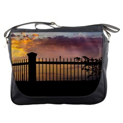 Small Bird Over Fence Backlight Sunset Scene Messenger Bags by dflcprints