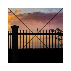 Small Bird Over Fence Backlight Sunset Scene Acrylic Tangram Puzzle (6  X 6 ) by dflcprints