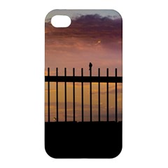 Small Bird Over Fence Backlight Sunset Scene Apple Iphone 4/4s Premium Hardshell Case by dflcprints