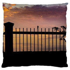 Small Bird Over Fence Backlight Sunset Scene Large Cushion Case (two Sides) by dflcprints