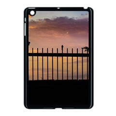 Small Bird Over Fence Backlight Sunset Scene Apple Ipad Mini Case (black) by dflcprints