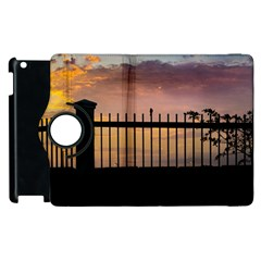 Small Bird Over Fence Backlight Sunset Scene Apple Ipad 2 Flip 360 Case by dflcprints