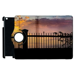 Small Bird Over Fence Backlight Sunset Scene Apple Ipad 3/4 Flip 360 Case by dflcprints