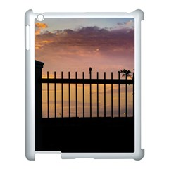 Small Bird Over Fence Backlight Sunset Scene Apple Ipad 3/4 Case (white) by dflcprints