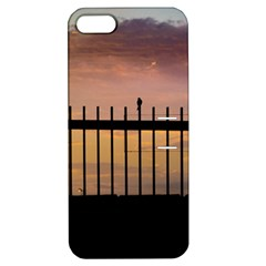 Small Bird Over Fence Backlight Sunset Scene Apple Iphone 5 Hardshell Case With Stand by dflcprints