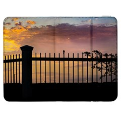 Small Bird Over Fence Backlight Sunset Scene Samsung Galaxy Tab 7  P1000 Flip Case by dflcprints