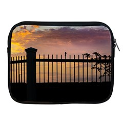 Small Bird Over Fence Backlight Sunset Scene Apple Ipad 2/3/4 Zipper Cases by dflcprints