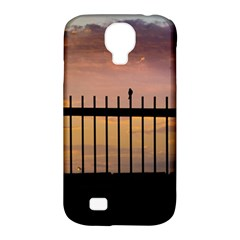Small Bird Over Fence Backlight Sunset Scene Samsung Galaxy S4 Classic Hardshell Case (pc+silicone) by dflcprints