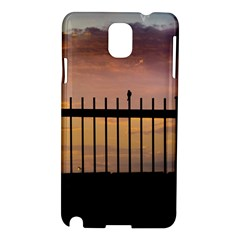 Small Bird Over Fence Backlight Sunset Scene Samsung Galaxy Note 3 N9005 Hardshell Case by dflcprints