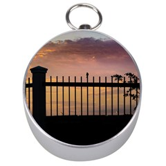 Small Bird Over Fence Backlight Sunset Scene Silver Compasses by dflcprints