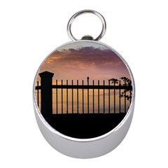 Small Bird Over Fence Backlight Sunset Scene Mini Silver Compasses by dflcprints