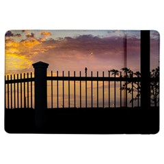 Small Bird Over Fence Backlight Sunset Scene Ipad Air Flip by dflcprints
