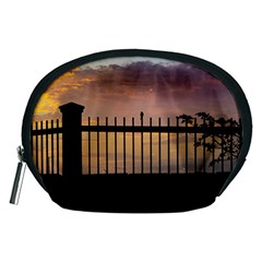 Small Bird Over Fence Backlight Sunset Scene Accessory Pouches (medium)  by dflcprints