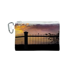 Small Bird Over Fence Backlight Sunset Scene Canvas Cosmetic Bag (s) by dflcprints