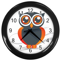 Owl Logo Wall Clocks (black)