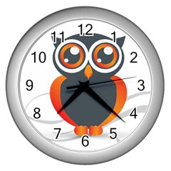 Owl Logo Wall Clocks (silver)  by BangZart