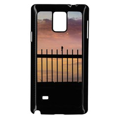 Small Bird Over Fence Backlight Sunset Scene Samsung Galaxy Note 4 Case (black) by dflcprints