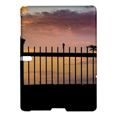 Small Bird Over Fence Backlight Sunset Scene Samsung Galaxy Tab S (10 5 ) Hardshell Case  by dflcprints