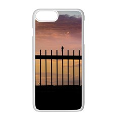 Small Bird Over Fence Backlight Sunset Scene Apple Iphone 7 Plus White Seamless Case by dflcprints