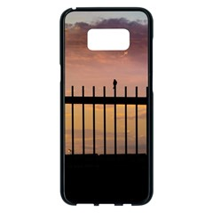 Small Bird Over Fence Backlight Sunset Scene Samsung Galaxy S8 Plus Black Seamless Case by dflcprints