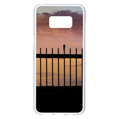 Small Bird Over Fence Backlight Sunset Scene Samsung Galaxy S8 Plus White Seamless Case by dflcprints