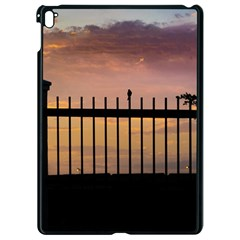 Small Bird Over Fence Backlight Sunset Scene Apple Ipad Pro 9 7   Black Seamless Case by dflcprints