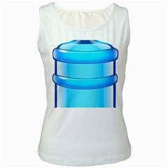 Large Water Bottle Women s White Tank Top