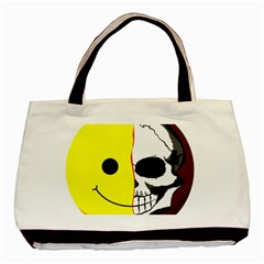 Skull Behind Your Smile Basic Tote Bag (two Sides)