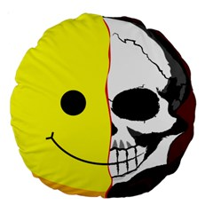 Skull Behind Your Smile Large 18  Premium Round Cushions by BangZart