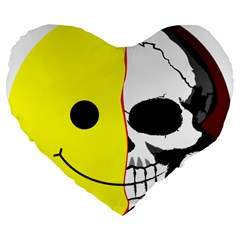 Skull Behind Your Smile Large 19  Premium Flano Heart Shape Cushions by BangZart