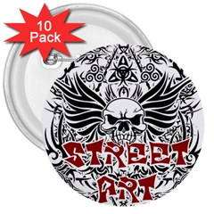 Tattoo Tribal Street Art 3  Buttons (10 Pack)  by Valentinaart