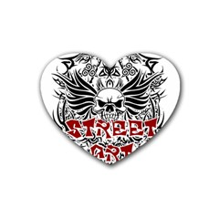 Tattoo Tribal Street Art Rubber Coaster (heart)  by Valentinaart