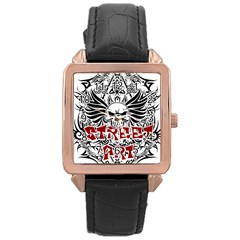 Tattoo Tribal Street Art Rose Gold Leather Watch  by Valentinaart