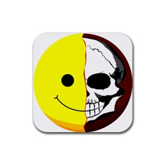 Skull Behind Your Smile Rubber Square Coaster (4 Pack)  by BangZart