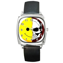 Skull Behind Your Smile Square Metal Watch by BangZart