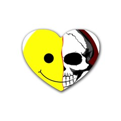 Skull Behind Your Smile Rubber Coaster (heart)  by BangZart