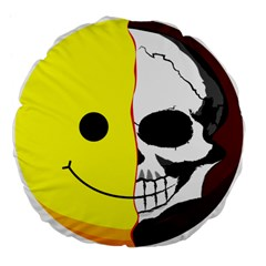 Skull Behind Your Smile Large 18  Premium Flano Round Cushions by BangZart