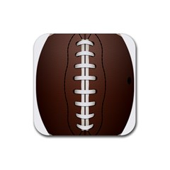 Football Ball Rubber Square Coaster (4 Pack)