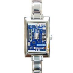Classic Blue Computer Mainboard Rectangle Italian Charm Watch by BangZart