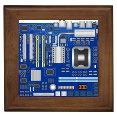 Classic Blue Computer Mainboard Framed Tiles by BangZart