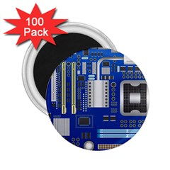 Classic Blue Computer Mainboard 2 25  Magnets (100 Pack)