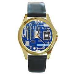 Classic Blue Computer Mainboard Round Gold Metal Watch