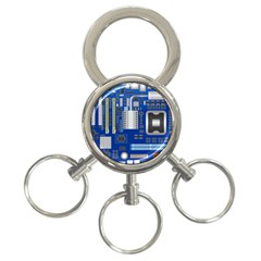 Classic Blue Computer Mainboard 3 Ring Key Chains by BangZart