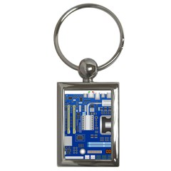 Classic Blue Computer Mainboard Key Chains (rectangle)