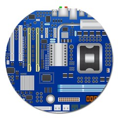 Classic Blue Computer Mainboard Magnet 5  (round)