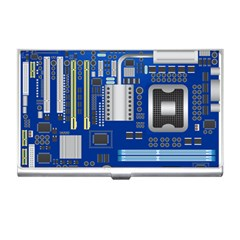 Classic Blue Computer Mainboard Business Card Holders