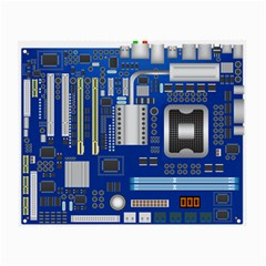 Classic Blue Computer Mainboard Small Glasses Cloth by BangZart