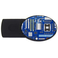 Classic Blue Computer Mainboard Usb Flash Drive Oval (4 Gb) by BangZart