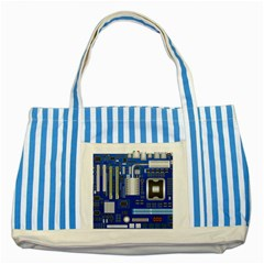 Classic Blue Computer Mainboard Striped Blue Tote Bag